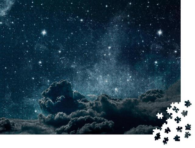 """Puzzle 1000 Teile """"Hintergründe des Nachthimmels mit Sternen, Mond und Wolken"""""""