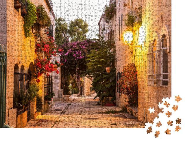 """Puzzle 1000 Teile """"Mishkenot Shaananim, alter Stadtteil von Jerusalem am Abend, Israel"""""""