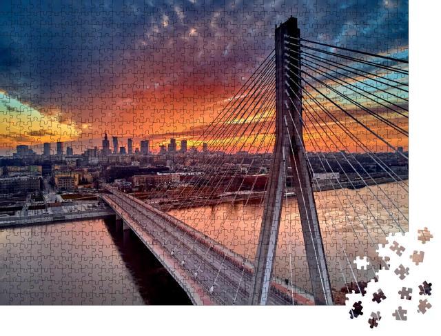 """Puzzle 1000 Teile """"Sonnenuntergang über dem Stadtzentrum von Warschau, Polen"""""""