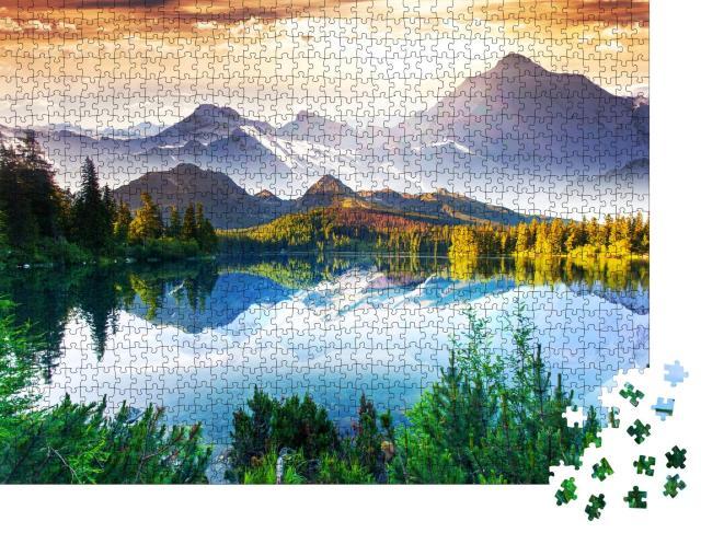 """Puzzle 1000 Teile """"Sonniger Tag an einem schönen Bergsee"""""""