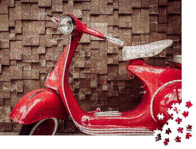 "Puzzle 1000 Teile ""Roter Vintage-Motorroller"""