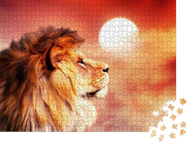 """Puzzle 1000 Teile """"Afrikanischer Löwe im glühenden Sonnenuntergang"""""""