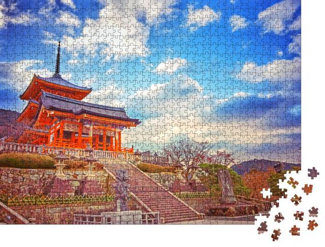 """Puzzle 1000 Teile """"Sonnenuntergang am Kiyomizu-dera-Tempelgelände, Kyoto, Japan"""""""