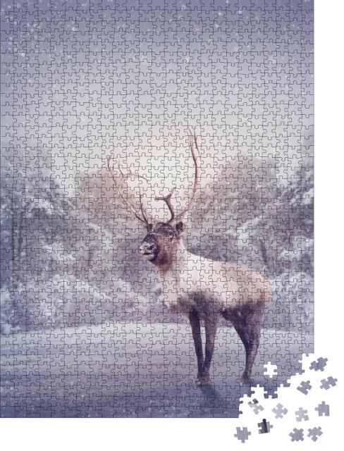 """Puzzle 1000 Teile """"Rentier im Schnee"""""""