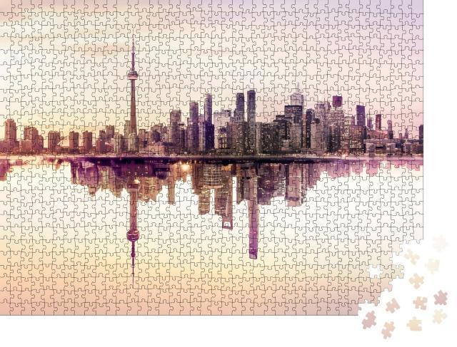 """Puzzle 1000 Teile """"Die Skyline von Toronto, spiegelndes Wasser"""""""