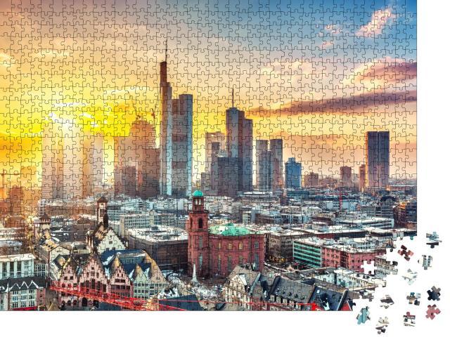 """Puzzle 1000 Teile """"Frankfurt am Main im Sonnenuntergang, Deutschland"""""""