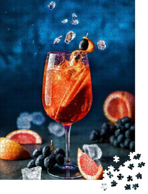 """Puzzle 1000 Teile """"Kalte Erfrischung: Frischer Grapefruit-Cocktail auf Eis"""""""