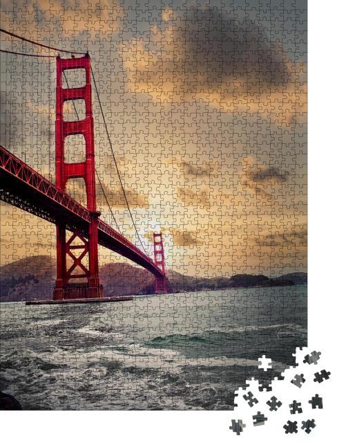 """Puzzle 1000 Teile """"Golden Gate Bridge: Sonnenuntergang"""""""