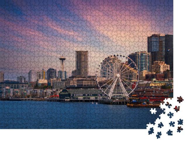 """Puzzle 1000 Teile """"Downtown Seattle - Skyline mit Riesenrad"""""""