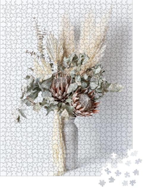 """Puzzle 1000 Teile """" Trockenblumenarrangement in einer stilvollen rosa Vase"""""""