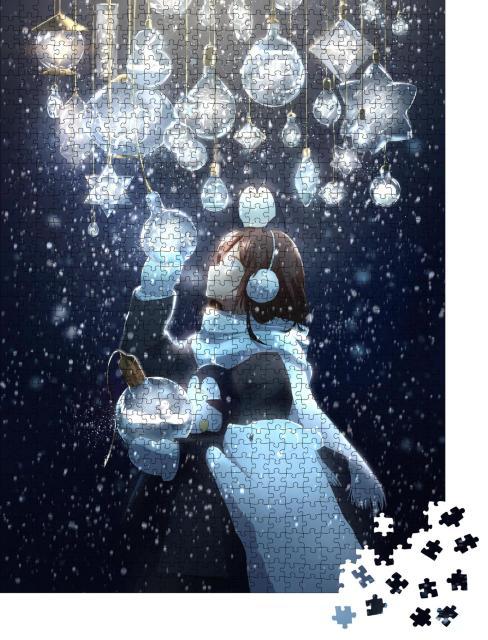 """Puzzle 1000 Teile """"Zeichnung eines Anime-Mädchens, Weihnachten"""""""