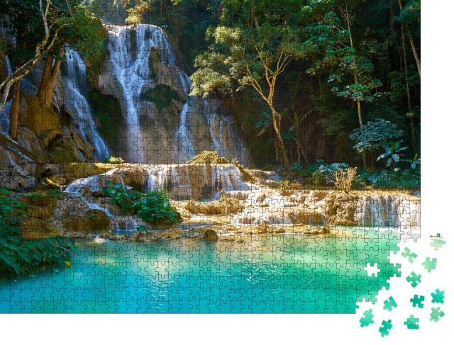 """Puzzle 1000 Teile """"Beeindruckende Kuang Si Wasserfälle in Luang Probang, Laos"""""""