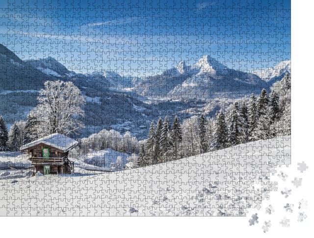 """Puzzle 1000 Teile """"Berchtesgaden und Watzmann-Massiv im Winter, Deutschland"""""""