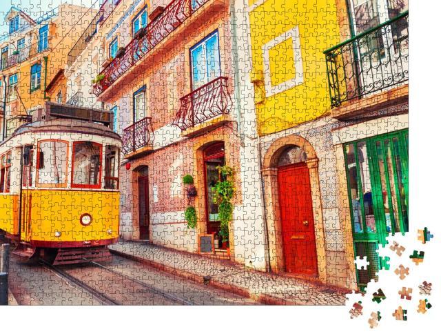 """Puzzle 1000 Teile """"Berühmte alte Straßenbahn auf der Straße in Lissabon, Portugal"""""""