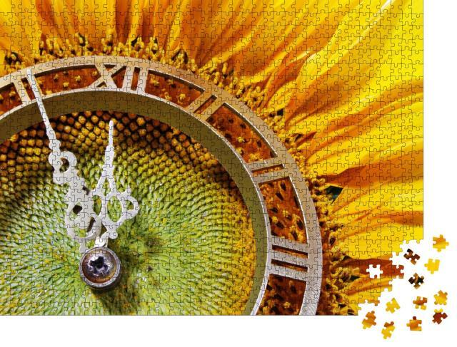 """Puzzle 1000 Teile """"Sonnenblumen-Uhr als Metapher für das Herannahen der Mittagszeit"""""""