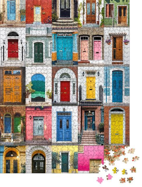 """Puzzle 1000 Teile """"Bunte Sammlung von Eingangstüren aus aller Welt"""""""