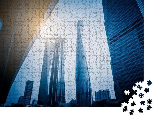 """Puzzle 1000 Teile """"Shanghai World Financial Center und Jin Mao Tower"""""""