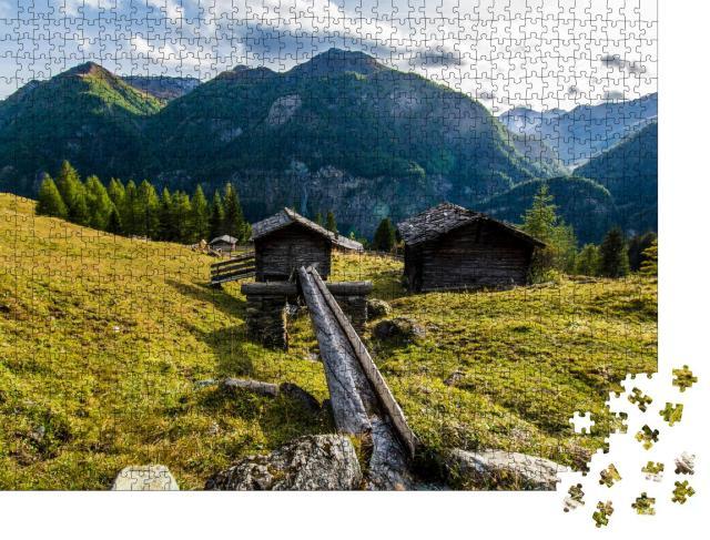 """Puzzle 1000 Teile """"Wiesenhügel in den österreichischen Alpen"""""""