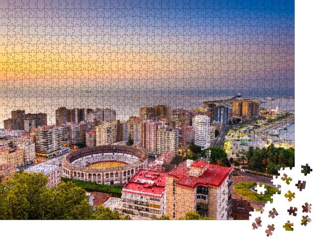 "Puzzle 1000 Teile ""Dämmerung über Málaga, Spanien"""