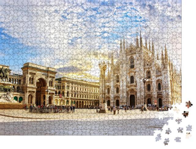 """Puzzle 1000 Teile """"Spektakuläres Licht am Mailänder Dom, Italien"""""""