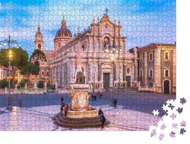 """Puzzle 1000 Teile """"Piazza Duomo am Abend, Catania, Sizilien, Italien"""""""