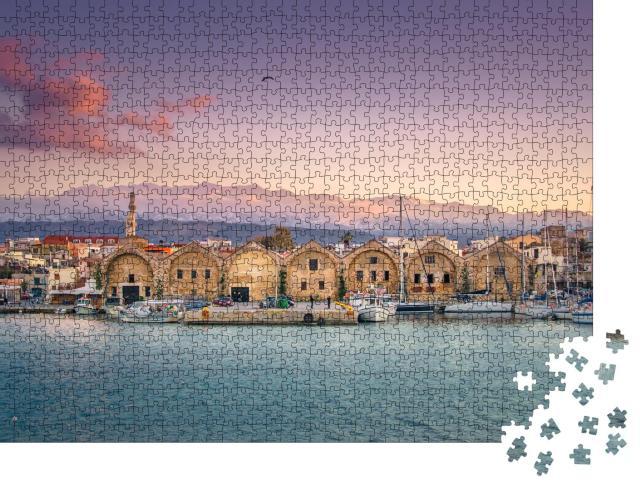 """Puzzle 1000 Teile """"Panorama des schönen alten Hafens von Chania, Kreta, Griechenland"""""""