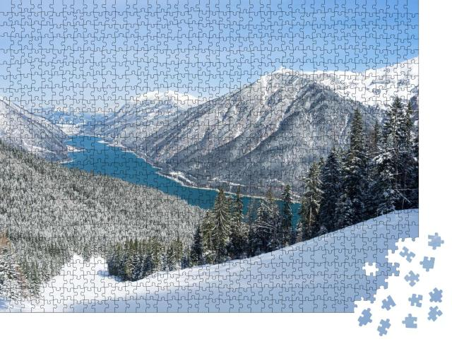 """Puzzle 1000 Teile """"Spektakuläre Skipiste am Achensee, Tirol, Österreich"""""""