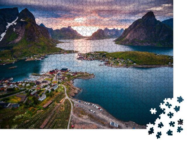 """Puzzle 1000 Teile """"Unverwechselbare Landschaft der Lofoten, Norwegen"""""""