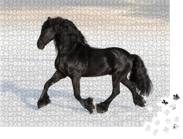 """Puzzle 1000 Teile """"Schwarzes friesisches Pferd im Schnee"""""""