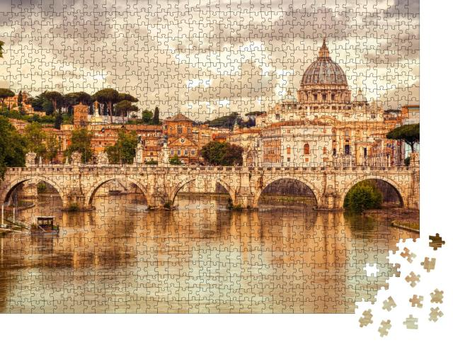"""Puzzle 1000 Teile """"Basilika St. Peter und Brücke Sant Angelo, Vatikanstadt, Rom, Italien"""""""