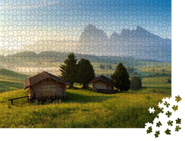 """Puzzle 1000 Teile """"Chalets auf der Seiser Alm, Dolomiten, Südtirol, Italien"""""""