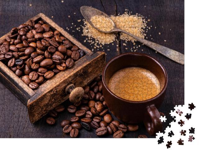 """Puzzle 1000 Teile """"Kaffee, brauner Zucker und Kaffeebohnen"""""""