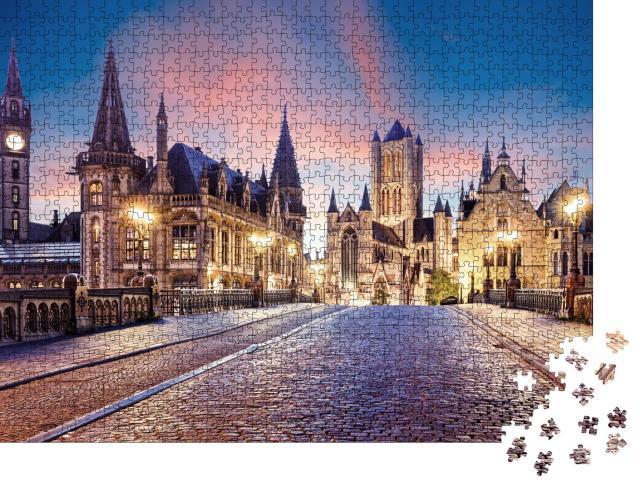 """Puzzle 1000 Teile """"Altstadt von Gent im Sonnenuntergang, Belgien"""""""