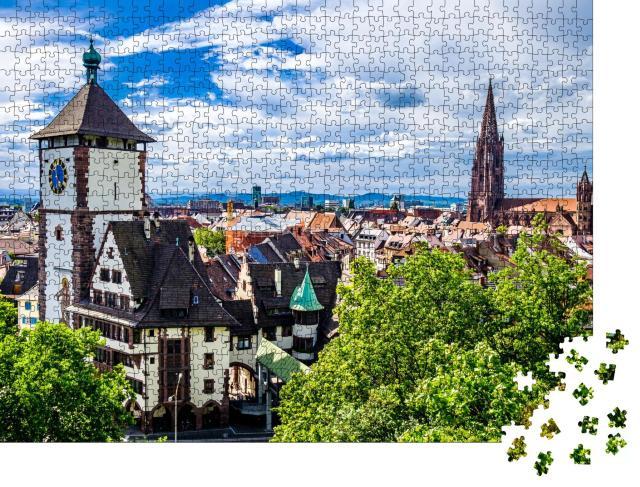 """Puzzle 1000 Teile """"Die berühmte Altstadt von Freiburg im Breisgau"""""""