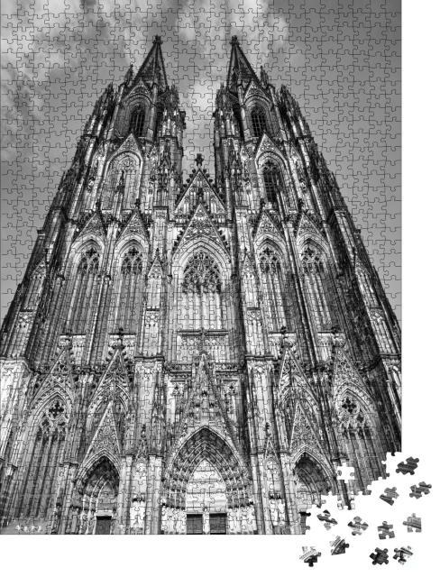 """Puzzle 1000 Teile """"Fassade des Kölner Doms, schwarz-weiß"""""""