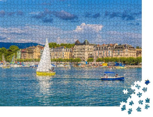 """Puzzle 1000 Teile """"Historisches Stadtzentrum von Genf und Genfer See, Schweiz"""""""