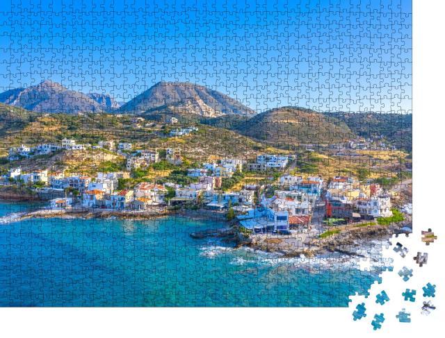 """Puzzle 1000 Teile """"Kleines traditionelles Fischerdorf von Mochlos, Kreta"""""""