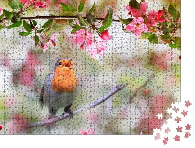 """Puzzle 1000 Teile """"Rotkehlchen zwischen den Blüten eines Apfelbaums"""""""