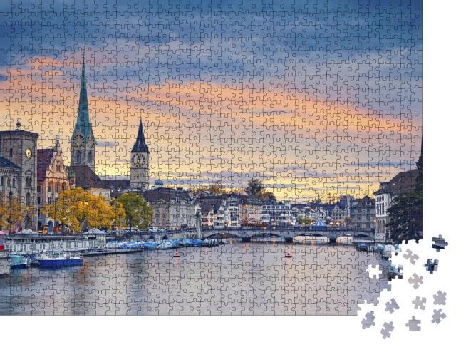 """Puzzle 1000 Teile """"Zürich am Abend"""""""