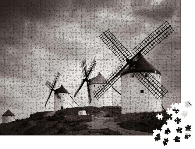 """Puzzle 1000 Teile """"Eine Gruppe von Windmühlen in Consuegra bei Toledo in Spanien"""""""