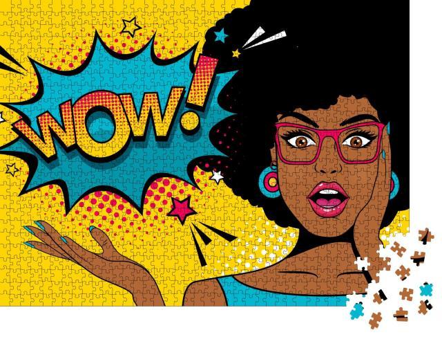"""Puzzle 1000 Teile """"Pop-Art: eine junge afrikanische Frau überrascht"""""""