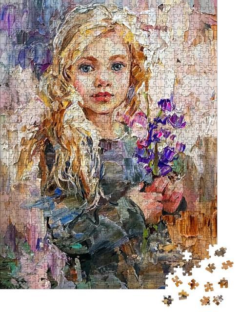 """Puzzle 1000 Teile """"Ölgemälde: Mädchen mit Blauglockenblüte"""""""