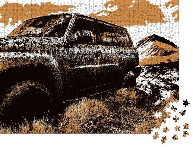 """Puzzle 1000 Teile """"Offroad-Truck im Schlamm in den Bergen"""""""