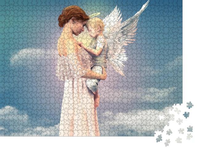 """Puzzle 1000 Teile """"Porträt einer Frau mit einem Kind, Engel"""""""