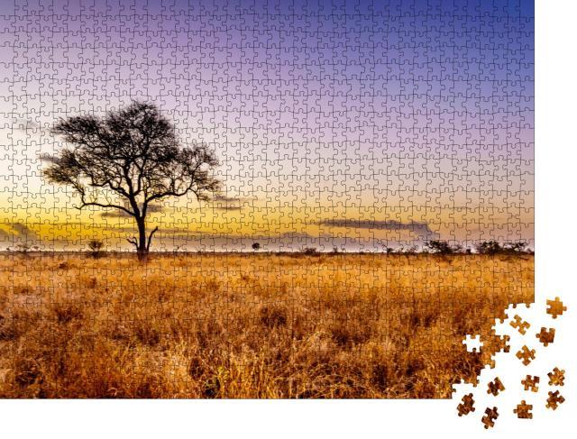 """Puzzle 1000 Teile """"Sonnenaufgang über der Savanne im zentralen Kruger National Park, Südafrika"""""""
