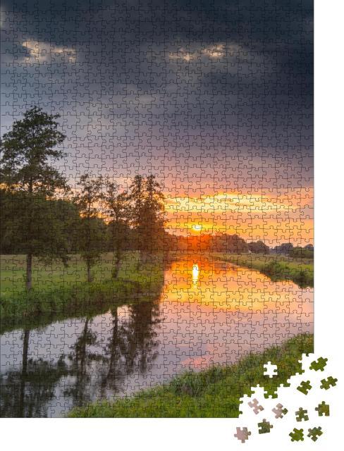 """Puzzle 1000 Teile """"Sonnenuntergang am Spreewald"""""""