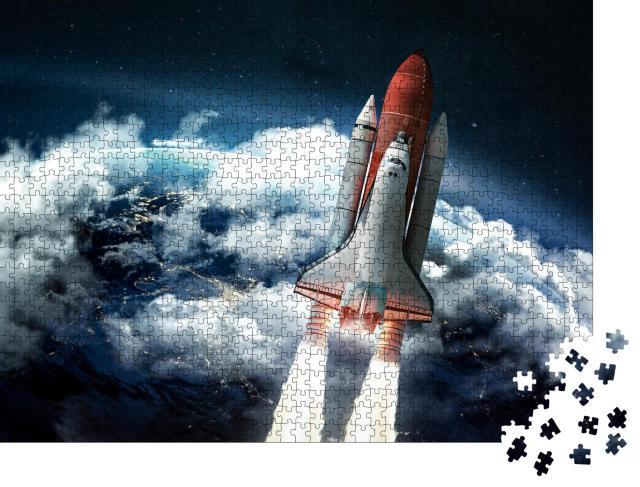 """Puzzle 1000 Teile """"Space Shuttle über der Erde"""""""
