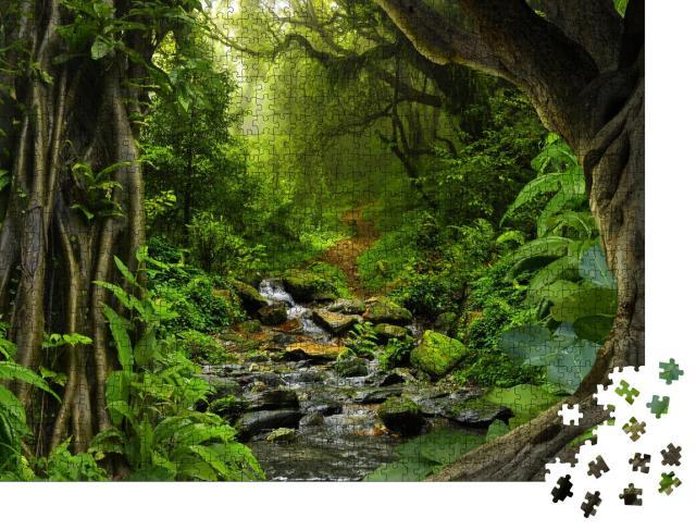 """Puzzle 1000 Teile """"Tropischer Dschungel mit Fluss"""""""
