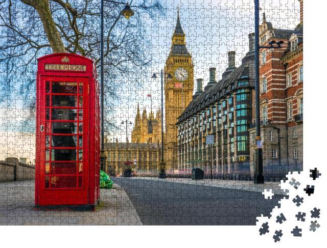 """Puzzle 1000 Teile """"Telefonzelle und Big Ben, London, England"""""""