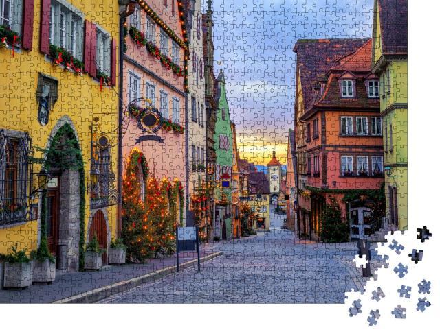 """Puzzle 1000 Teile """"Bunte Häuser: historische Altstadt von Rotenburg ob der Tauber"""""""